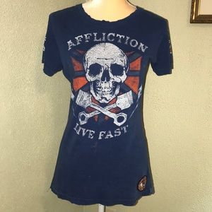 Affliction Live Fast Blue Distressed Tee Large